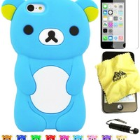 Bukit Cell ® Bundle - 4 Items: Bukit Cell ® BABY BLUE 3D Teddy Bear Soft Silicone Case for iPhone 5C, Bukit Cell ® Cleaning Cloth, Screen Protector and Metallic Stylus Touch Pen with Anti Dust Plug