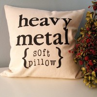Heavy Metal Hand Stamped Pillow Cover by JoshuaByOak on Etsy