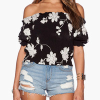 Black Floral Print Garter Off Shoulder Puff Sleeve Top