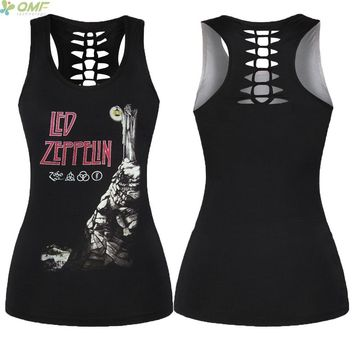Led Zeppelin Running Vest Women Back Hollow Out Sports Singlet 2018 Harajuku Yoga Sleeveless Shirt Halter Running Tank Tops