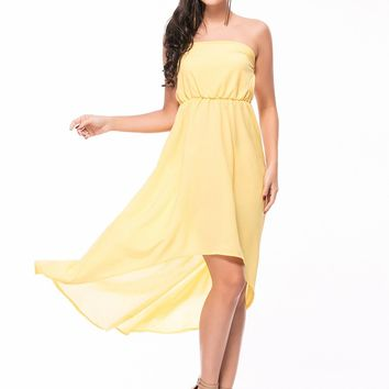 Streetstyle  Casual Strapless Plain High-Low Flowy Maxi Dress