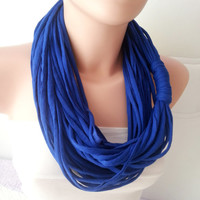 Jersey scarf, Jersey necklace, infinity eternity loop, multistrand necklace, Neon blue, electric blue scarf