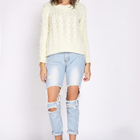 Long-Sleeve Twist Knitted Sweater