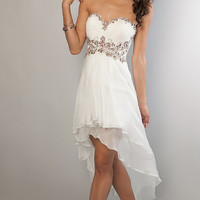 High Low Jewel Embellished Sweetheart Dress