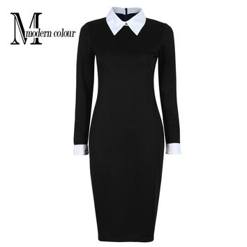 Black Office Dresses Women 2016 Autumn New Arrivals Fashion Long Sleeve Pencil Dress Ladies Casual Work Dress With White Collar