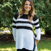 Stripe High Slit Sweater