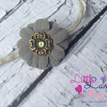 Grey Fancy Newborn Girl Flower Tieback, Couture Baby Headband, Newborn Girl Props, baby photography props, Hair Bands, Toronto Canada