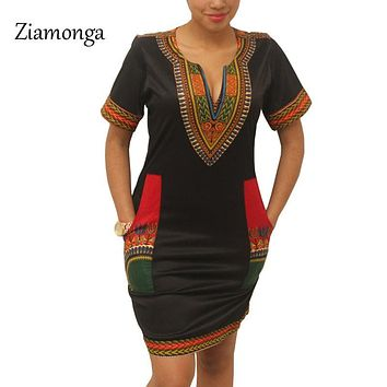 Ziamonga Dashiki Dress 2017 Summer Sexy African Print Shirt Dresses Female Vintage Mini Hippie Plus Size Boho Women Casual Dress