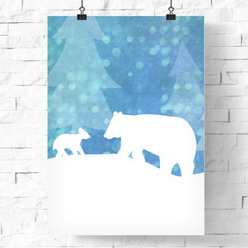 Digital Download | Nursery Poster Printable | Bear Mother and Cub In Snowy Winter Forest | Nature Illustration | Baby Shower Decor