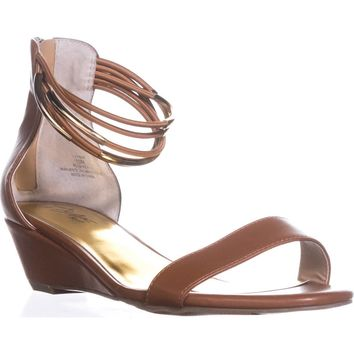 TS35 Areyana Ankle-Strap Wedge Sandals, Cognac, 11 US
