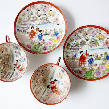 Japanese Geisha Girls Teacup - Vintage Tea Party Cup And Saucer - Asian Novelty Collectible - 1920s Taisho Porcelain China - Kutani Geishas