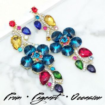 Long Multicolor Crystal Event Chandelier Earrings