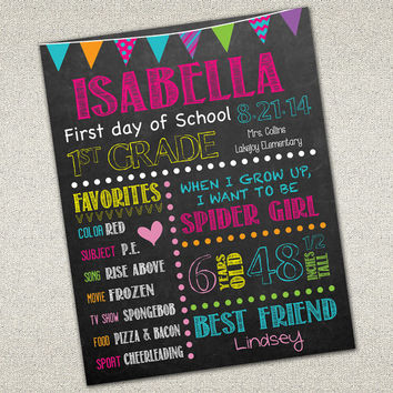 First Day of School Sign | Back to School | Printable Chalkboard Poster | DIY Printable