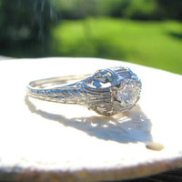 Elegant 1920's Art Deco Diamond Engagement Ring, Beautiful European Cut Diamond, Platinum with Leaf Design and Engraving, Lovely Condition