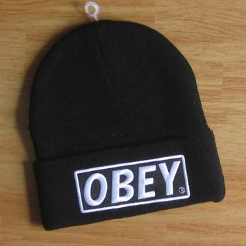OBEY Hip Hop Women Men Beanies Winter Knit Hat Cap-3