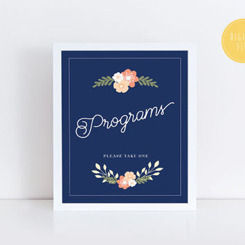 PRINTABLE Wedding Program File / Navy Wedding / Shabby Chic / Vintage Wedding  / INSTANT DOWNLOAD