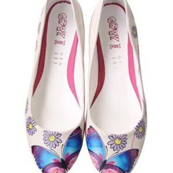 Elite Goby Butterfly & Flower Print Flats - Ladies Shoes & Handbags by Elite Goby - Modnique.com