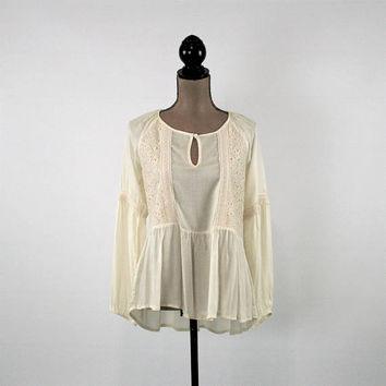 Cream White Romantic Long Sleeve Top Boho Peasant Blouse Rayon Shirt Loose Fitting High Low Top Keyhole Boho Clothing New Womens Clothing