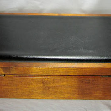 Mens Jewelry Box Wood and Black Leather Dante Chest Stash Orange Lining