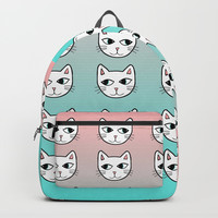 Whimsical White Cats Mint Pink Pattern Backpacks by Artist Abigail