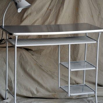 MidCentury Metal Desk with Lamp White With by TheVelvetBranch