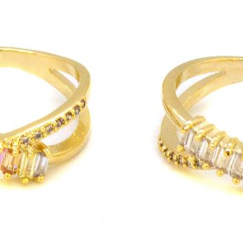 (1-3136-j8-1) Gold Overlay Plated CZ Baguette Ring.