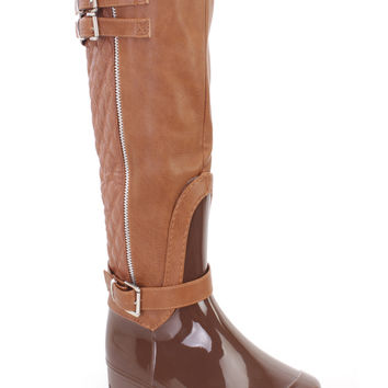 Tan Stitched Quilted Riding Boots Faux Leather