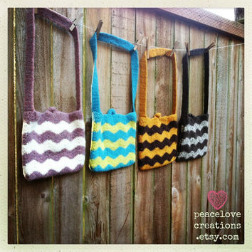 Crochet Felted Chevron Bag