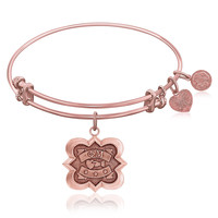 Expandable Bangle in Pink Tone Brass with Phi Mu Symbol