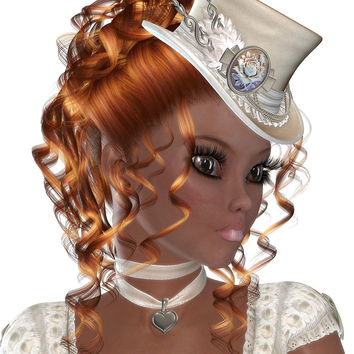 African American Woman with Red Hair. Steampunk Art by exoticlove