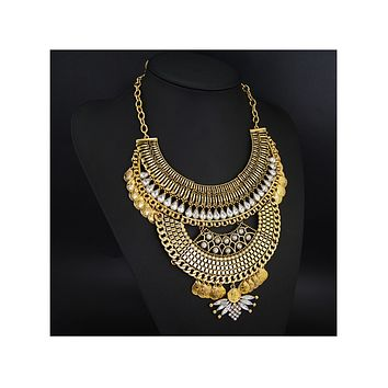 Foreign Trade Necklace European Big Brand Necklace Vintage Alloy National Style Woman Ornament  glided