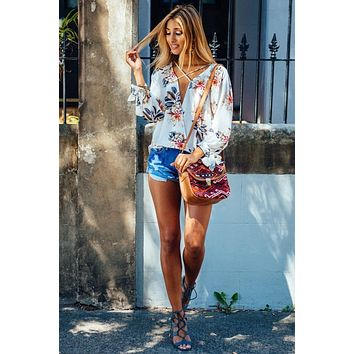 Print Long Sleeves V-neck Chiffon Blouses
