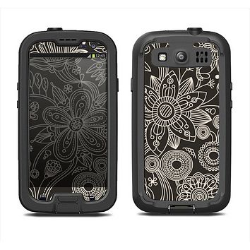 The Black Floral Laced Pattern V2 Samsung Galaxy S4 LifeProof Fre Case Skin Set
