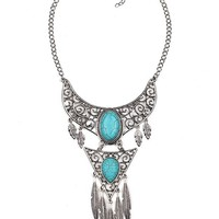 Streetstyle  Casual Gemstone Hollow Out Metal Boho Necklace