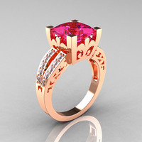 French Vintage 14K Rose Gold 3.8 Carat Princess Pink Sapphire Diamond Solitaire Ring R222-RGDPS