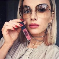 Luxury Transparent Gradient Sun Glasses For Women Elegant Rimless Sunglasses Women Brand Designer Retro Female Ladies Sunglass