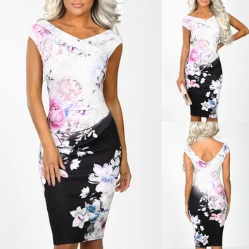 Women Sheath Sleeveless Print Dress V Neck Power Trip Multi Floral Print Party Evening Bodycon Midi Dress