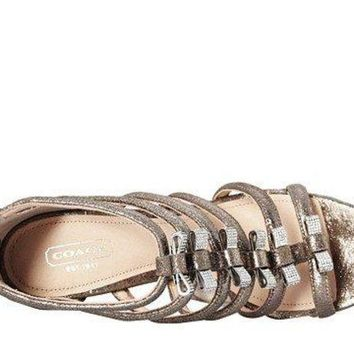 DCCKG2C COACH Women's Laila Feathered Grey Metallic Dusted Suede Sandal 9 M