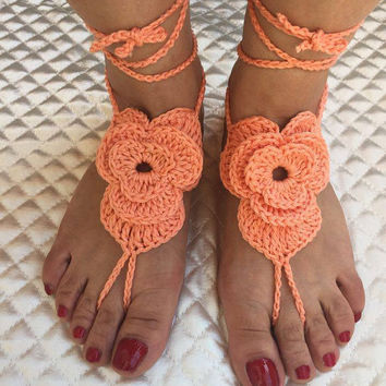 Crochet flower barefoot sandals, Barefoot sandals, Bridal foot jewelry, Beach wedding, Nude shoes, Footless sandals, Gift Idea, Yoga jewelry