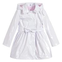 Girls White Patent Raincoat