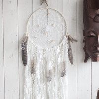 Dreamcatcher, Wall hanging dream catcher, Native American Dreamcatcher, Crystal dreamcatcher, White Brown dreamcatcher, Tribal dreamcatcher