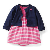 Carter's Girls 2 Piece Pink/Navy Yarn Dye Stripe Dress and Cardigan Set