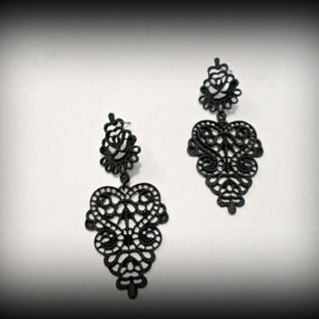 Black metal lace earring-metal lace dangle earring-gothic earring