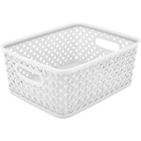 "Resin Wicker Storage Tote, Small, 10"" x 8"" x 4"", Basket Weave - Walmart.com"