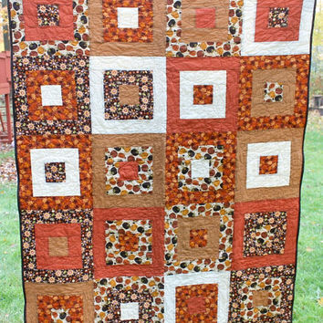 Autumn Fall Lap Quilt, Throw Quilt, Orange Brown Gold, Dots Pumpkins Sunflowers, Long Arm Quilted