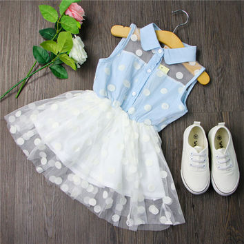 Turn Down Collar Lace Jean Stitching Princess Dress Girls Party Dress