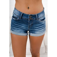 Rowan Mid Rise Shorts (Medium Wash)