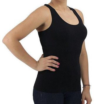 Solid Fitness Racer Back Ribbed Seamless Tank Top One Size Fits SML TAN0531