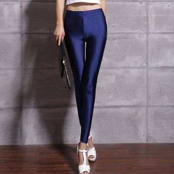 Hot Selling 2017 Women Solid Color Fluorescent Shiny Pant Leggings Large Size Spandex Shinny Elasticity Casual Trousers For Girl