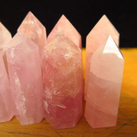 Rose Quartz Crystal natural polished prism - wire wrap jewelry piece display - pink crystal point flat bottom natural 2 to 2.5 inch stone